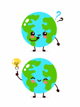 Happy Cute Earth Planet With Question Mark