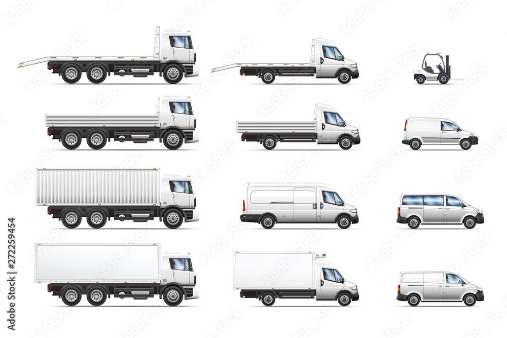 Fototapeta Vector illustrations set of commercial transportation trucks.