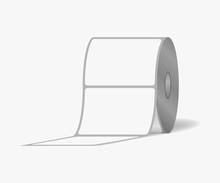 Label Sticker Roll. Blank Adhesive Labels On Bobbin, Vector Mock-up