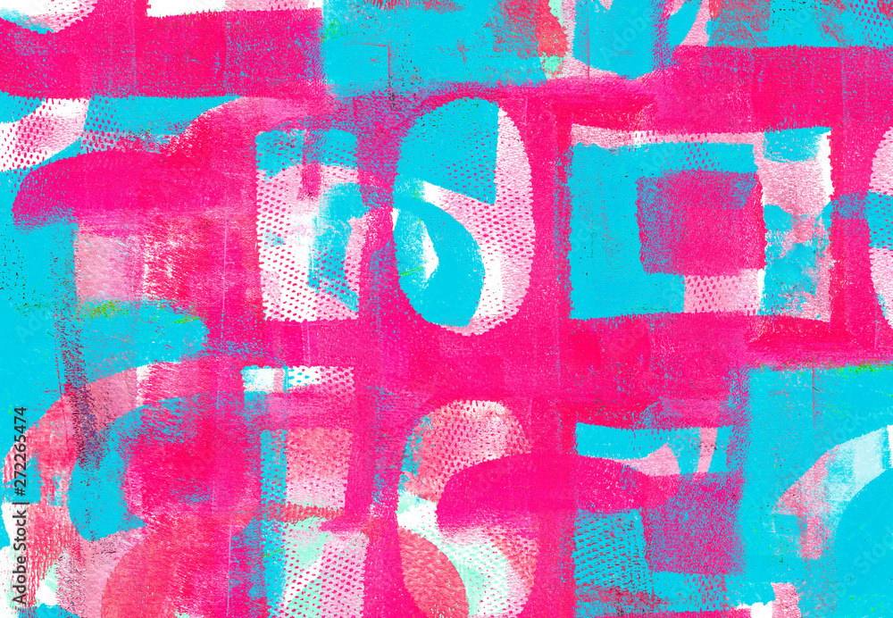 Fototapety, obrazy: Handmade Abstract Acrylic Design on Watercolour Paper Background
