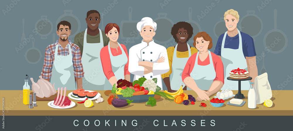 Fototapeta Cooking classes concept. Chef and African American, European and Indian adult men and women students. Lots of variety of products in the foreground. Cook training courses. Vector illustration.