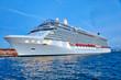 Leinwandbild Motiv Luxury cruise ship heading to а vacation cruise around Caribbean islands