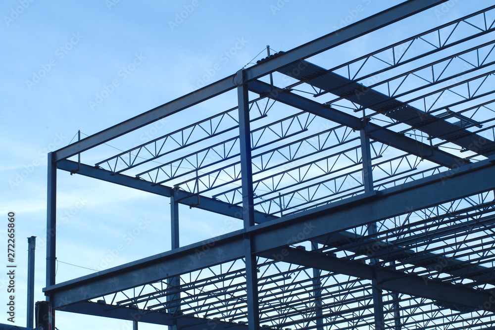 Fototapety, obrazy: construction site building metal structure beams frame