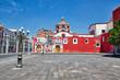 canvas print picture - Puebla, Mexico-April 14, 2018: Santo Domingo Temple and Capilla del Rosario Church close to Zocalo historic city center
