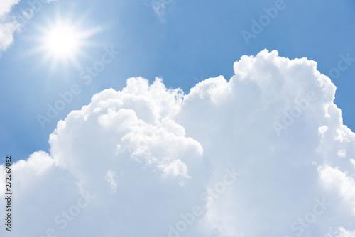 obraz PCV Blue sky cloud sun light background hot high temperature summer day