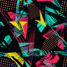 Abstract Neon Seamless Pattern. Urban Street Art. Grunge Texture With Chaotic Lines, Triangles, Brush Strokes, Ink Paint. Colorful Graffiti Style Vector Background. Pop Art Fashion. Trendy Design