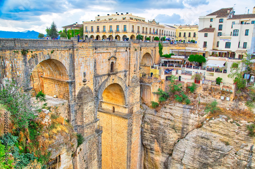 Ronda, Spain-October 12, 2018: Famous Puente Nuevo Bridge's Arch in Ronda histor Wallpaper Mural