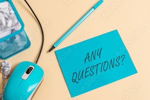 Fotografija  Writing note showing Any Questions Question