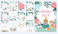 Animal Calendar 2020 With Elephant,giraffe,tiger,fox,parrot For Children.Can Be Used For Printable Graphic