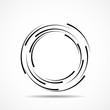 Abstract technology spiral circles, geometric logo, vector