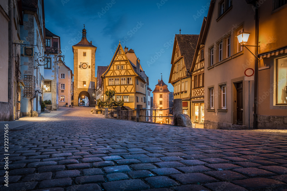 Fototapety, obrazy: Historic town of Rothenburg ob der Tauber in twilight, Bavaria, Germany