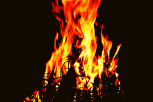 Fire Flames On Abstract Black ...