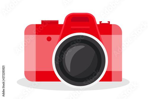 Obraz Red camera vector cartoon illustration - fototapety do salonu