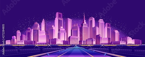 road to the neon city Tableau sur Toile