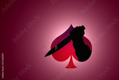 Cuadros en Lienzo  silhouette hand hold knife in ace of spades shape