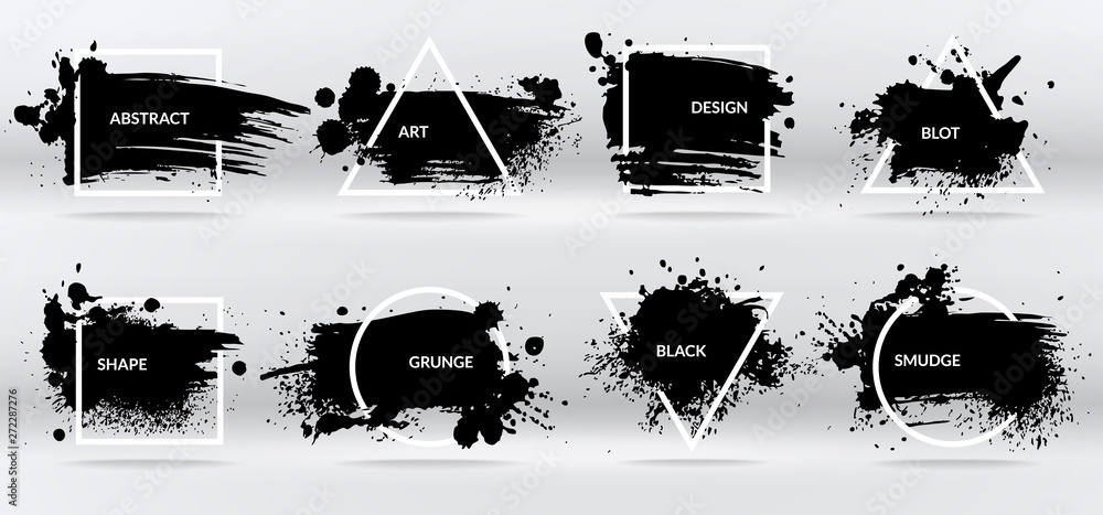 Fototapeta Ink blots. Abstract shapes, frames with black brushstroke grunge texture. Isolated border vector set