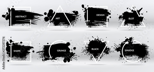 Poster Graffiti Ink blots. Abstract shapes, frames with black brushstroke grunge texture. Isolated border vector set