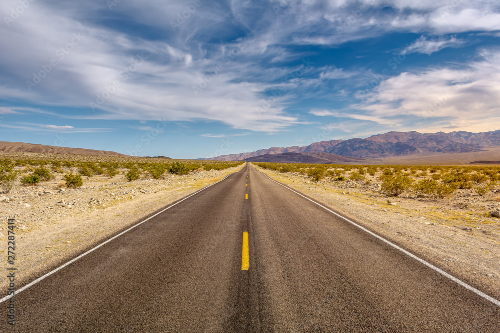 Fototapety, obrazy: Road through a desert and mountains in California, USA