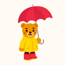 Cute Teddy Bear With Umbrella