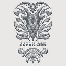 Capricorn Vintage Vector Illustration