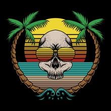 Skull Beach Retro Vector Illustration