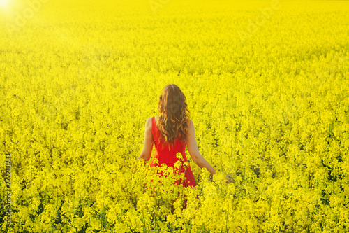 Foto auf Leinwand Gelb Schwefelsäure Young beautiful girl in a red dress close up in the middle of yellow field with radish flowers and sunlight..