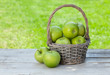 Leinwandbild Motiv Fresh garden apples in basket