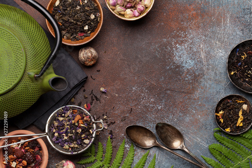 Photo  Herbal and fruit dry teas
