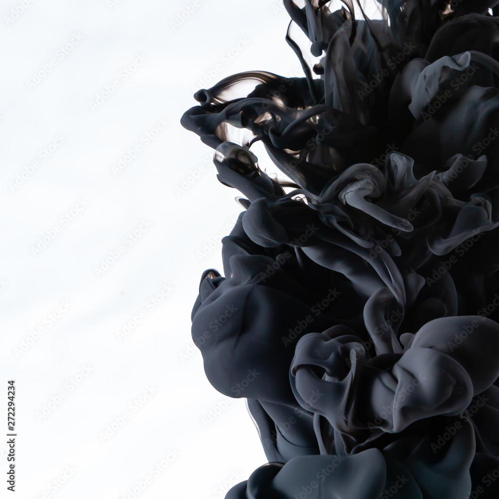 Fototapeta black ink in water cropped