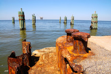 Pier With Rusty Metal Poles, I...