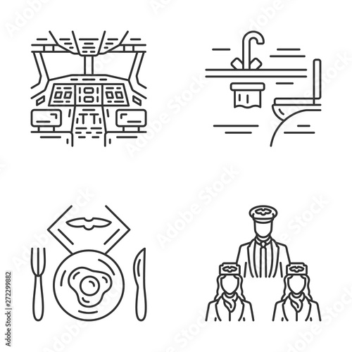 Aviation services linear icons set Wallpaper Mural