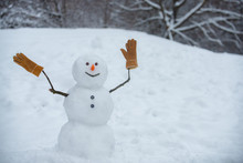 Snowman In A Scarf And Hat. Gr...