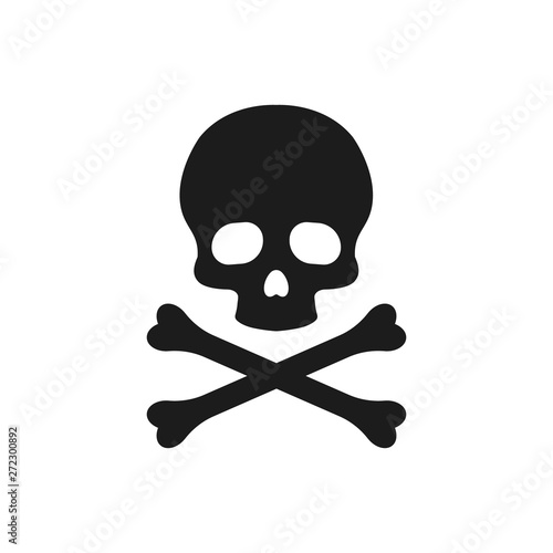 Skull and bones illustration. Vector. Isolated. Fototapet