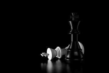 Light and shadow of chess king in the darkness. 3D rendering.