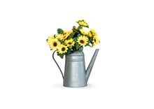 Yellow Flowers Are Embroidered In A Flower Vase That Is Shaped As A Water Pot, Isolated On White Background With Clipping Path.