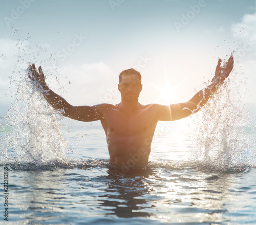 Printed kitchen splashbacks Artist KB Portrait of a serious man in a tropical pool