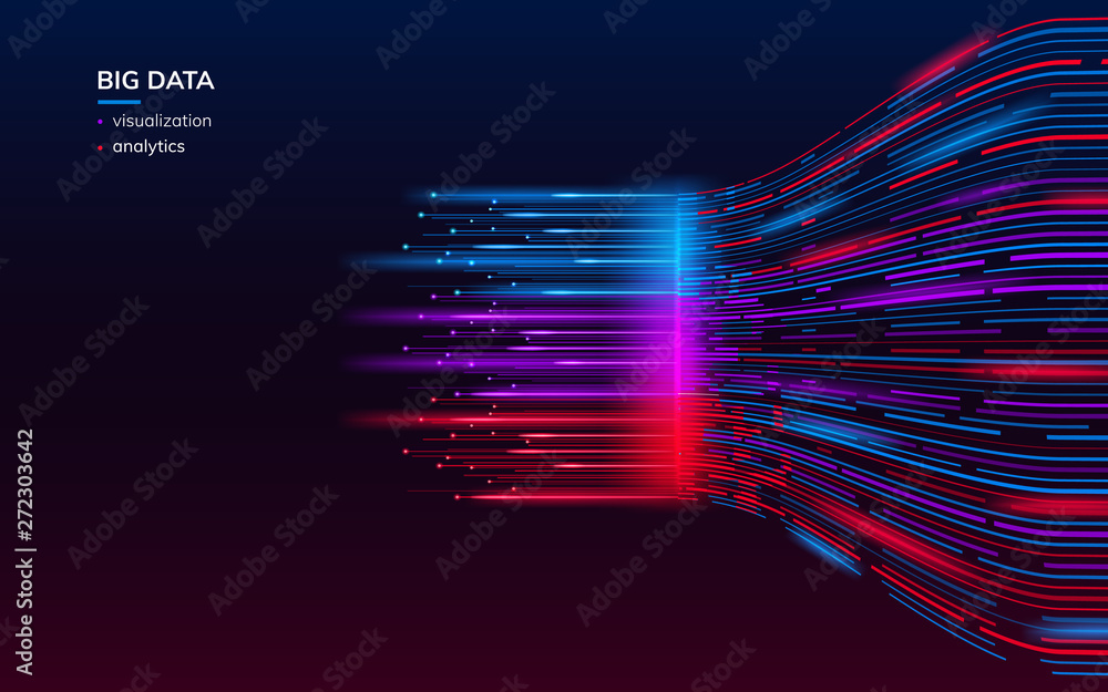 Fototapeta Fractal elements with lines for big data analysis visualization. Complex bigdata connection or abstract futuristic technology. Information connection wallpaper. Data array visual concept. Analyze
