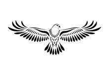 Engraving Of Stylized Hawk. De...
