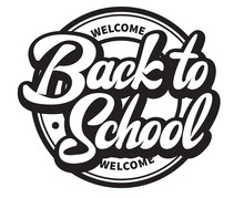 Vector Monochrome Illustration With Lettering Inscription Back To School