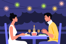 A Young Man And A Young Woman Sit At The Table In Profile. Date And Business Meeting In A Cafe. Summer Evening In A Restaurant On The Street. Vector Flat Illustration