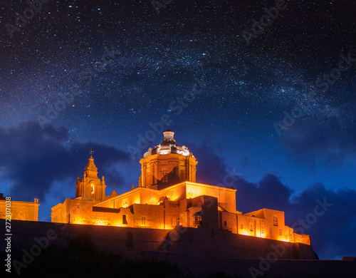 St. Paul's Cathedral under starry sky. Mdina, Malta Wallpaper Mural