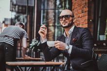 Pensive Modern Man Is Smoking ...