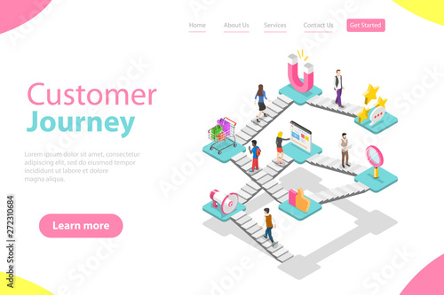 Isometric flat vector landing page template of customer buying process, user journey map, digital marketing campaign, promotion and advertising Canvas Print