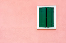 Window With Green Shutters On ...