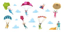 Cartoon Skydivers. Sky Jump With Parachute And Paraglider, Extreme Danger Skydive Falling. Vector Adrenaline Parachuting Sport Flat Illustration