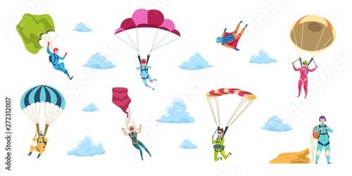 Fotografia Cartoon skydivers