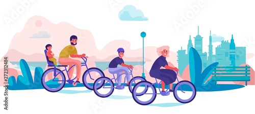 Family riding bicycles in park Wallpaper Mural