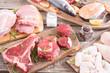 Leinwandbild Motiv Assortment of meat and seafood
