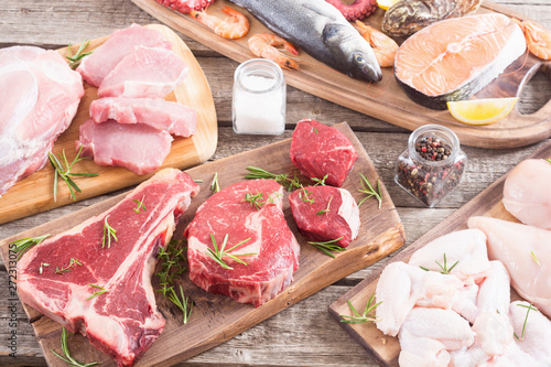 Assortment of meat and seafood - 272313075