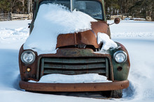 Rusted Old Vintage Truck In Snow